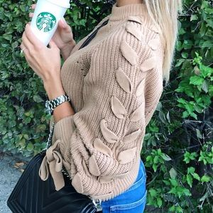 H&M HM Camel/Beige/Nude Lace Up Sleeve Sweater
